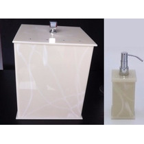 Kit Potes Banheiro Acrílico Bege Marmor C/ Strass C/ Lixeira