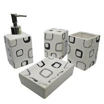 Jogo Para Lavabo Em Cerâmica 4 Peças - Moderna Decorações