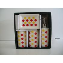 Kit Para Banheiro Em Cerâmica Com 4 Peças Várias Estampas