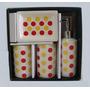 Kit Para Banheiro Cerâmica Poá 4 Peças Decoração Estampa