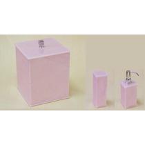 Kit Potes Para Banheiro Acrílico Rosa + Lixeira