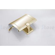 Suporte Papel Higienico Papeleira Metal Dourado Quadrado