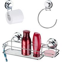 Suporte Shampoo + Porta Papel Higiênico + Toalheiro Ventosas