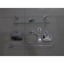 Kit Inox C/2porta Shampoo 40cm +1de Canto E Cabide 4 Ganchos