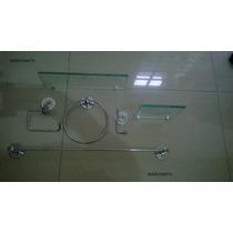 Kit Inox C/porta Shampoo Reto E Saboneteira De Vidro 6 Peças