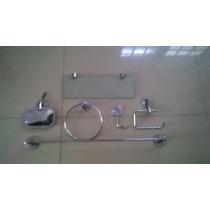 Kit Acessórios P/banheiro Inox C/porta Shampoo Reto