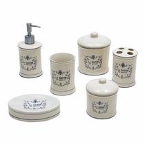 Luxuoso Kit De Porcelana Para Banheiro C/ 6 Peças