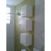 Trio Armário Nicho Decorativo Mdf Branco 30x30x15cm C/ Porta