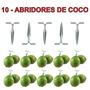 10 Peças Abridor Furador De Coco Verde Inox Que Funciona