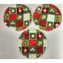 Prato Plástico - Decoração Natal - Kit Com 3 Unidades