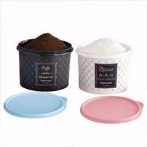 Conjunto 02 Caixas Bistrô Café & Açúcar -tupperware - Oferta