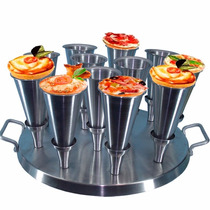 Kit 12 Forma Pizza Cone + Base Para Assar + Faca Modeladora