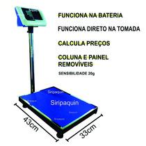 Balança De Chão Digital 100kg Base Aço Inox Recarregável