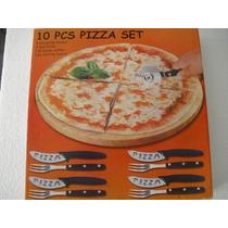 Jogo De Talheres De Inox Para Pizza + Tábua De Madeira