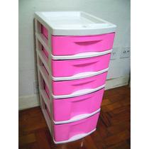 Gaveteiro Plástico Rosa E Branco 5 Gavetas (3 Pqs E 2 Gds)