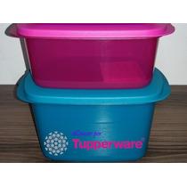 Tupperware Kit Cristalwave Retangular 2 Peças - Azul E Pink