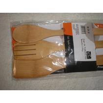Kit Utensílios Talheres De Bambú Com 3 Peças