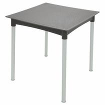 Mesa Tramontina Ratan Quadrada Aluminio Plastico Metal Preta