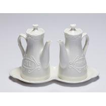 Jogo Galheteiro De Porcelana Alto Relevo Wolff - 25096