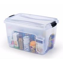 Caixa Organizadora Plástica 50 L Com Tampa Kit 3 Unidades
