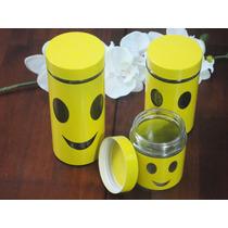 Kit Potes Herméticos P/ Mantimentos Em Vidro E Base Inox 3pç