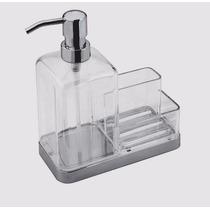 Dispenser 500ml Detergente C/ Suporte Porta Esponja E Sabão