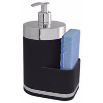 Dispenser Preto 400ml Sabão Líquido Com Suporte Para Esponja