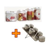Kit: 4 Potes Herméticos Acrílico + 6 Porta Temperos Inox Imã