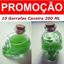 Garrafa 10 Caveiras De Vidro 200 Ml - Promoção Decoração
