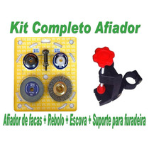 Kit Afiador De Faca + Rebolo + Escova + Suporte De Furadeira