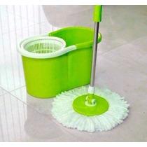 Balde Spin Mop Limpeza C/ Esfregão Centrífuga 360º Verde Pl