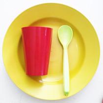 Kit Escolar Merenda Prato Copo Colher De Plastico C/50 Kits
