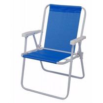 Cadeira De Praia Alta Aço Sannet Mor Azul