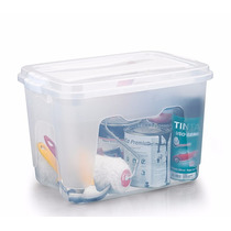 Kit 5 Unidades Caixa Organizadora Plástica Com Tampa 20 L