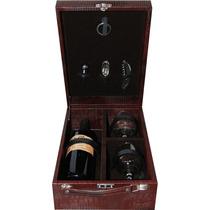 Caixa Porta Vinho Confraria C/ 2 Taças + Acessorios Luxo