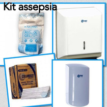 Kit Dispenser Papel Interfolha + Alcool Gél 70 E Saboneteira