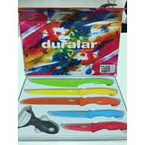 Jogo Kit 5 Facas De Cerâmica Coloridas + Descascador