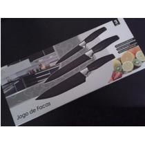 Kit Jogo Facas Chef Black Churrasco Cozinha 3 Peças Aço Inox