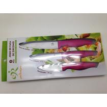 Kit De Faca De Cerâmica - Conj 3 Tamanhos - Bainha Color