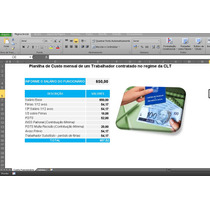 Planilha, Excel, Para Cálculo Do Custo Mensal Do Trabalhador