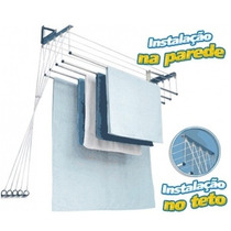 Varal Individual Teto Ou Parede 5 Varetas Alumínio - 100cm