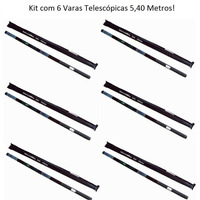 Kit Com 6 Varas Telescópicas 5,40 Metros 10 Secções Frp/abs