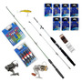 Kit 2 Varas 174 Pçs Molinetes Pesca 25kg Isca Anzol Boia Pw2
