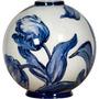 Vaso Tulipa Pequeno Branco E Azul Em Cerâmica