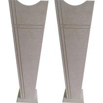 2 Vaso Solitario G 20x20x60 - Mdf - Cru - Madeira