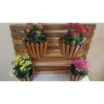 Jardim Vertical Suspenso Em Madeira C/ 4 Vasos