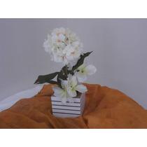 Arranjo Flores Artificiais Branco Hortencia Med. 40 X25 Cm