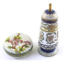 Objetos Decoração Dois Mini Potes Pintados Mão Metal B2136