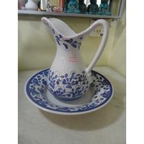 #11199 - Jarro E Bacia Imperial Porcelana Floral Azul!!!
