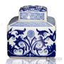 Potiche De Porcelana Azul/branco Fl11-741